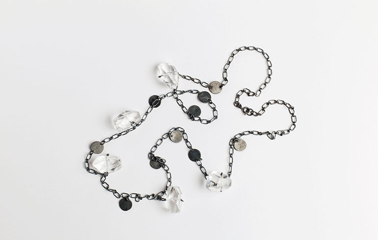 Black Rock Crystals Necklace
