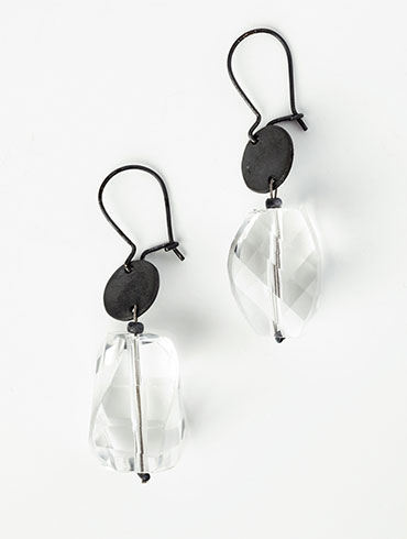 Black Rock Crystals Earrings