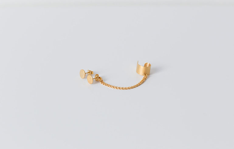Double Earrings & Earcuff Gold