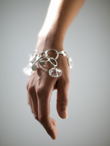Silver Rock Crystals Big Bracelet