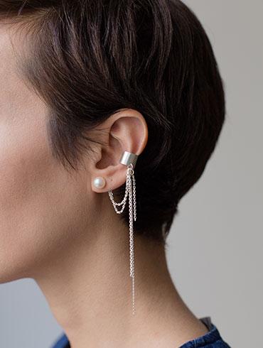 Pearls Earcuff Silver