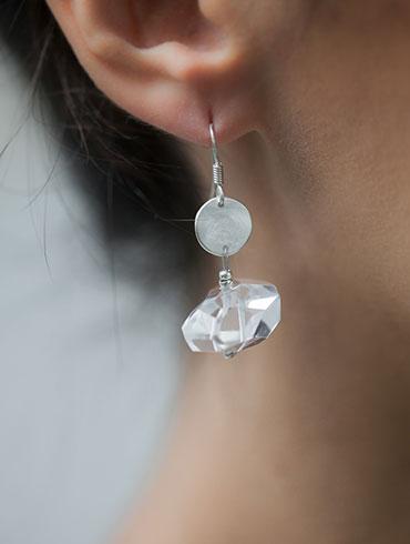 Silver Rock Crystals Earrings