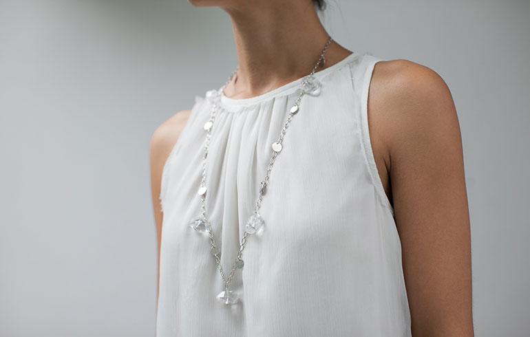 Silver Rock Crystals Necklace