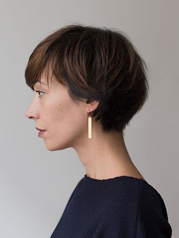 Transverse Earrings Gold
