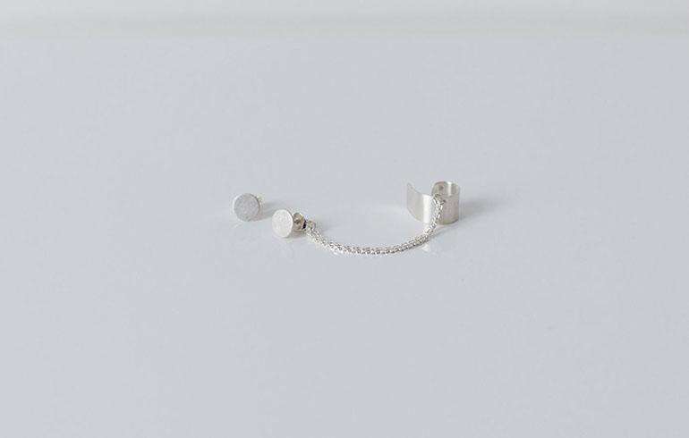 Double Earrings & Earcuff Silver