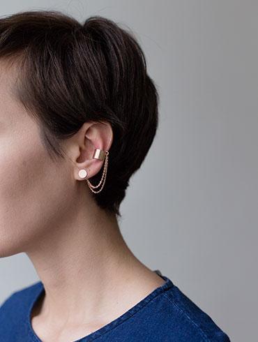 Double Earrings & Earcuff Red