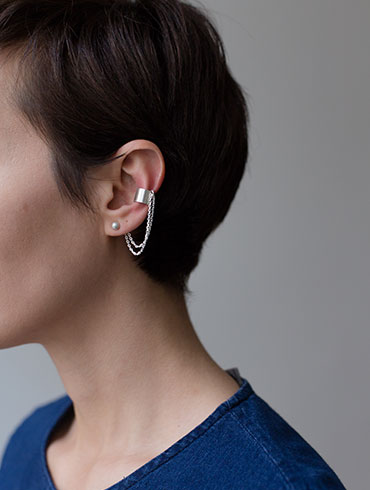 Mini Earrings & Earcuff  Silver