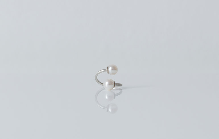 Pearls Ring Double Silver