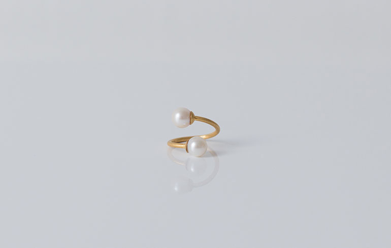 Pearls Ring Double Gold