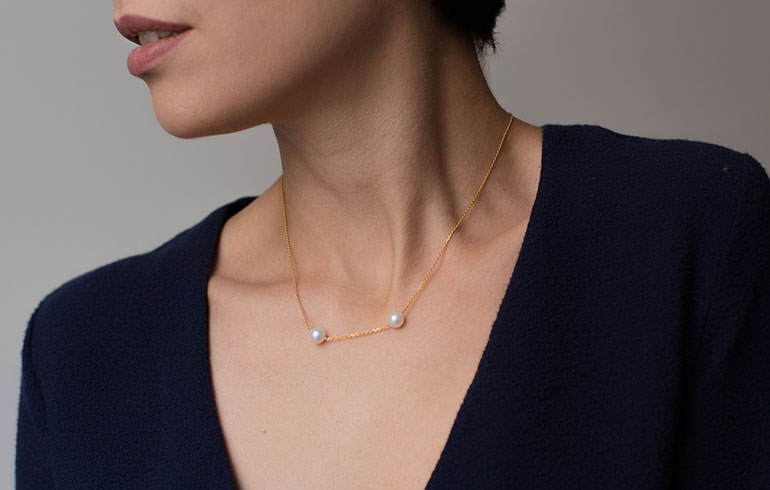 Pearls Necklace Short Gold