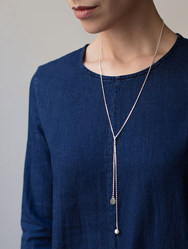 Pearls Necklace Long Silver