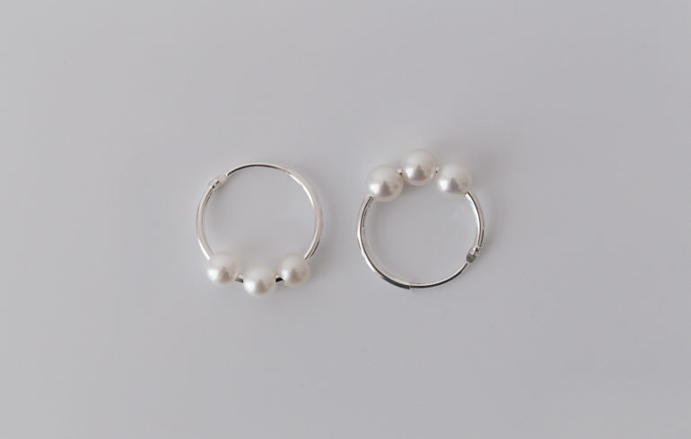 Petite Pearls Hoop Earrings