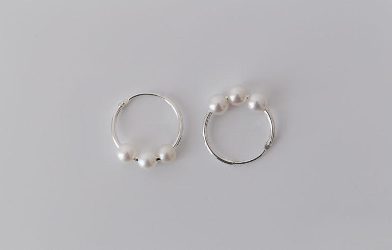 Petite Pearls Hoop Earrings